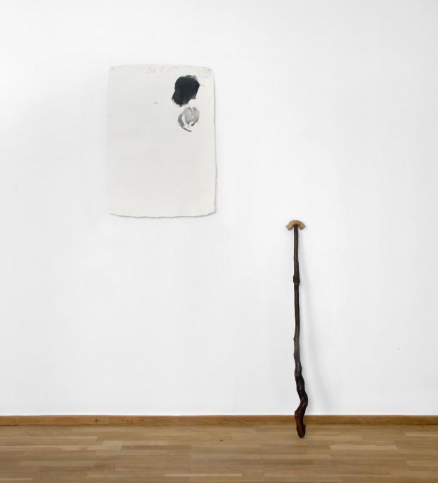 Michel Boulanger 01 8 15 Encre sur papier + bâton. Dimensions variables.