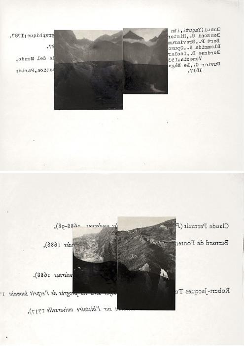 Carlo Guaita Paesaggi 2015. Encre sur photocopies sur texte imprimé. Diptyque. 2 x 29 x 41 cm