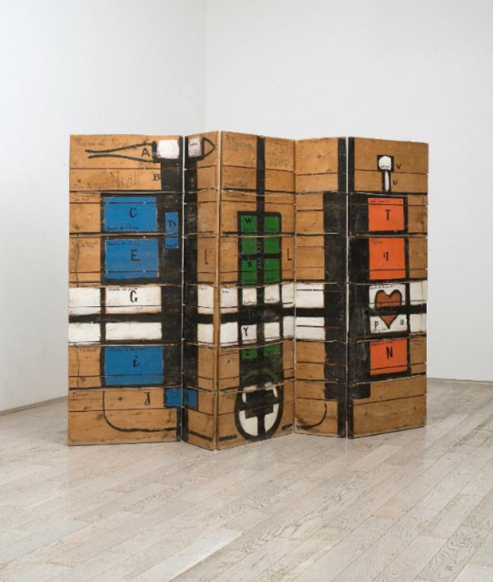 Etienne-Martin Sans titre - Paravent 1964. Peinture sur bois, cordes, 172 x 250 x 5 cm